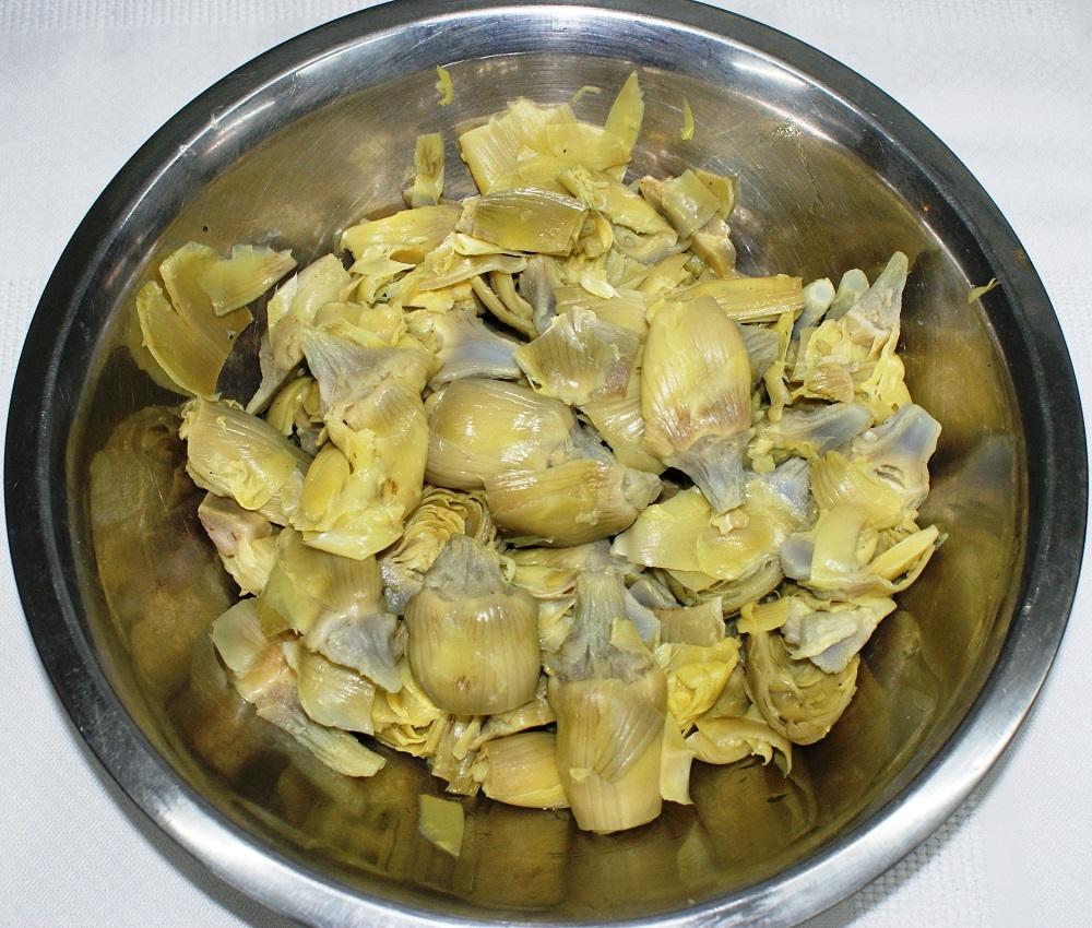 Corazones de alcachofa de Tudela salteados con jamón